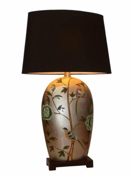 Chinese Flattened Porcelain Lamp