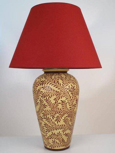 Large Ban Ho Ceramic Lamp Burgundy On Ochre