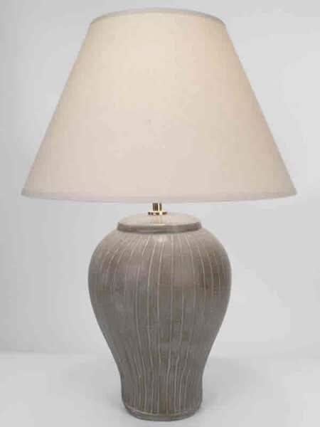 Sahara Pottery Lamp In Dark Taupe